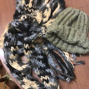 No Boundaries scarf with handknit gray hat